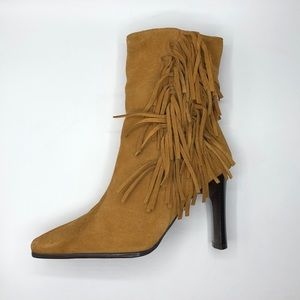 Worn Once Predictions Tan Leather Fringe Booties